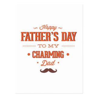 El día de padre feliz a mi papá encantador tarjeta postal