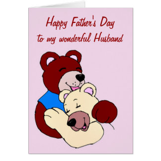 El día de padre feliz al marido de la esposa tarjeta de felicitación