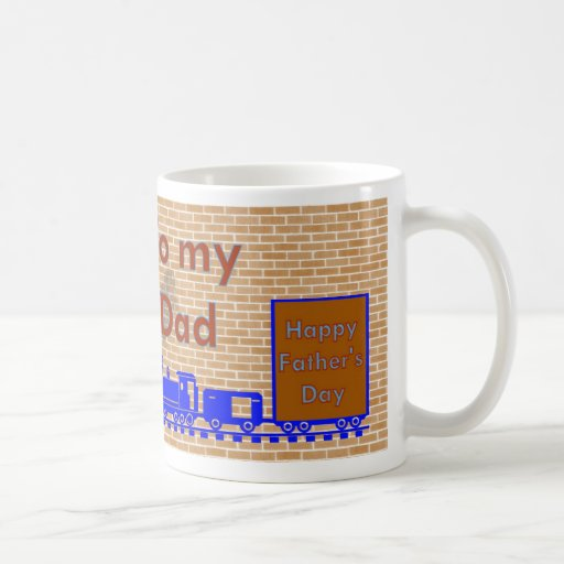 El día de padre feliz con el tren en pistas del taza de café