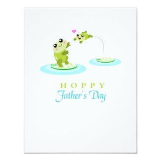 """El día de padre feliz de lúpulo de la rana linda invitación 4.25"""" x 5.5"""""""