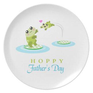 El día de padre feliz de lúpulo de la rana linda plato de cena