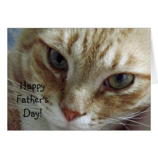El día de padre feliz del gato tarjeta de felicitación