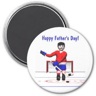 El día de padre feliz del hockey imán redondo 7 cm