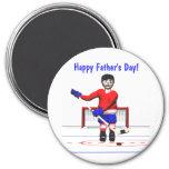 El día de padre feliz del hockey imanes de nevera