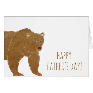 El día de padre feliz del oso de Brown Tarjeta De Felicitación