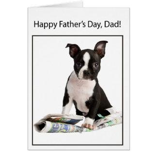 El día de padre feliz del perro de Boston Terrier, Tarjeta