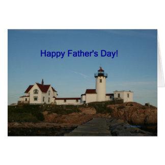 El día de padre feliz, faro tarjeta de felicitación