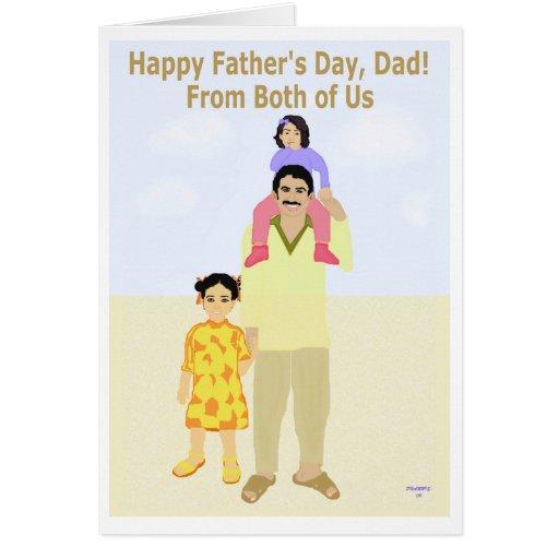 El día de padre feliz nosotros dos tarjeta de felicitación