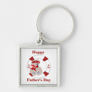El día de padre feliz (oso) llavero cuadrado plateado