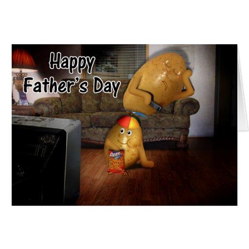 El día de padre feliz - papá de los teleadictos tarjeta de felicitación