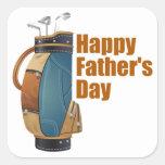 El día de padre feliz calcomanías cuadradas personalizadas