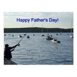 El día de padre feliz, pescador postales