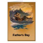 El día de padre - la pesca de un día tarjetas