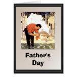 El día de padre - limpieza de un pescado para la c tarjetón
