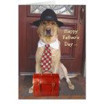 El día de padre lindo del perro para el hombre de  tarjeta