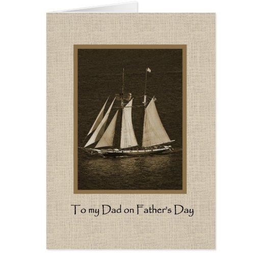 El día de padre - lona del barco de vela felicitación