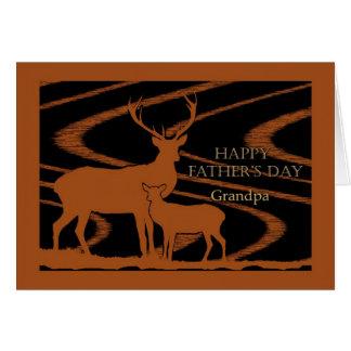 El día de padre para el abuelo, ciervo en campo tarjetas