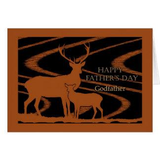El día de padre para el padrino, ciervo en campo tarjeton