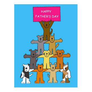 El día de padre Perro-Feliz Tarjeta Postal