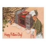 El día de padre retro del vintage del anuncio del postal