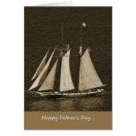 El día de padre - sepia del barco de vela tarjeton