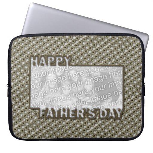 El día de padres cortado AÑADE SU insignia del hér Funda Computadora