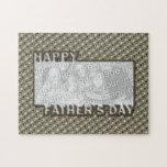 El día de padres cortado AÑADE SU insignia del hér Rompecabezas Con Fotos
