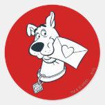 El día de San Valentín 02 de Scooby Etiqueta Redonda