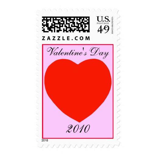 El día de San Valentín 2010, fondo rojo del rosa Sellos