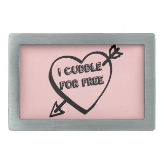 El día de San Valentín - abrazo gratis Hebilla De Cinturon Rectangular