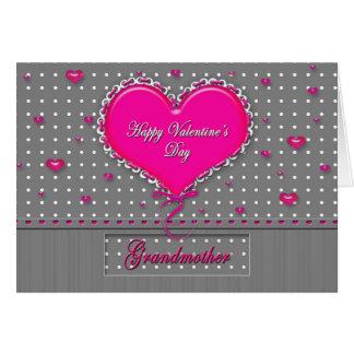 El día de San Valentín - abuela - gris/rosa/lunar Tarjeta De Felicitación