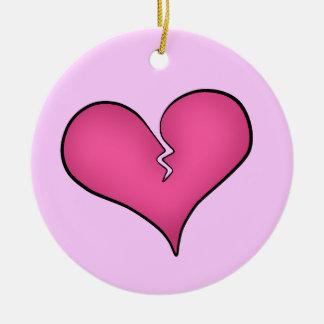 El día de San Valentín anti del corazón rosado Adorno Redondo De Cerámica