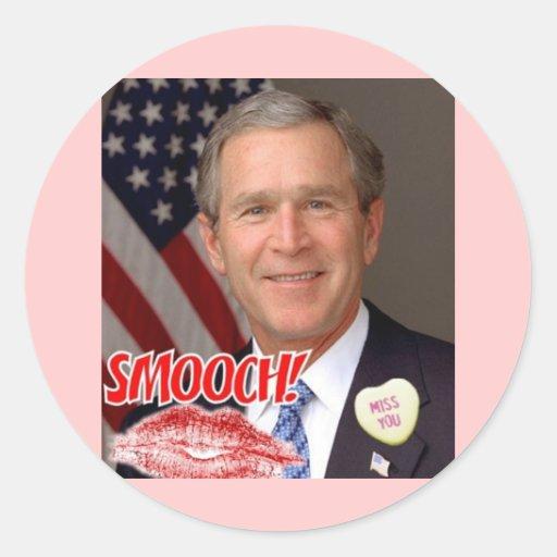 El día de San Valentín de George Bush Pegatina Redonda