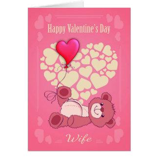 El día de San Valentín de la esposa con el oso y Tarjeta De Felicitación