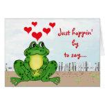 El día de San Valentín de lúpulo de la rana - tarj Felicitación
