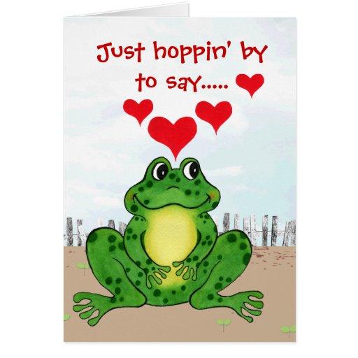 El día de San Valentín de lúpulo de la rana - Tarjeta De Felicitación