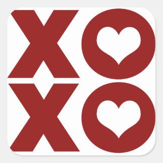 El día de San Valentín del amor de XOXO Calcomanía Cuadradas