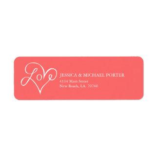 El día de San Valentín del amor Etiqueta De Remite