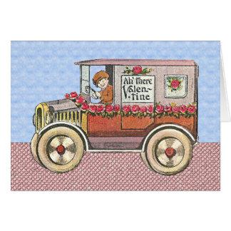 El día de San Valentín del automóvil del vintage Felicitaciones