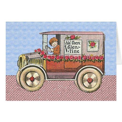 El día de San Valentín del automóvil del vintage Tarjeta De Felicitación
