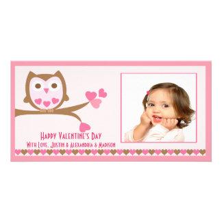 El día de San Valentín del búho del amor Tarjeta Personal Con Foto