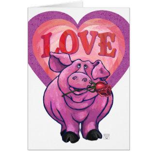 El día de San Valentín del cerdo Tarjeton