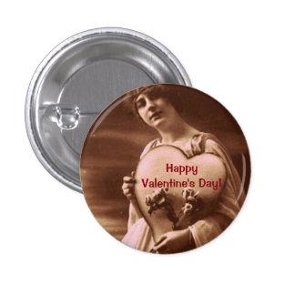 El día de San Valentín del estilo del vintage Pin Redondo De 1 Pulgada