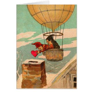 El día de San Valentín del globo del aire caliente Tarjeta De Felicitación