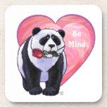 El día de San Valentín del oso de panda Posavasos De Bebida
