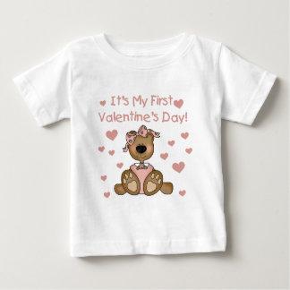 El día de San Valentín del oso del chica 1r Playera Para Bebé