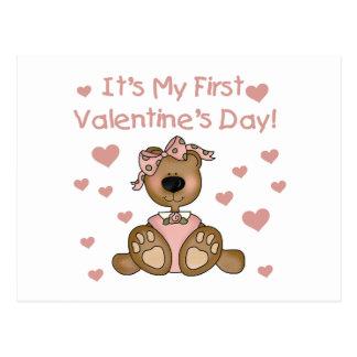 El día de San Valentín del oso del chica 1r Tarjetas Postales