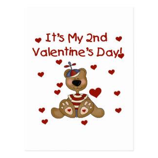 El día de San Valentín del oso del muchacho 2do Tarjetas Postales