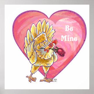 El día de San Valentín del pollo Póster