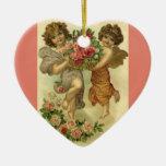 El día de San Valentín del Victorian del vintage, Adorno Navideño De Cerámica En Forma De Corazón